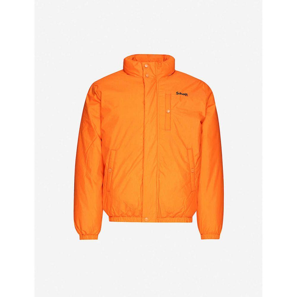 ショット SCHOTT メンズ ダウン・中綿ジャケット アウター【Funnel-neck padded cotton-blend jacket】Orange
