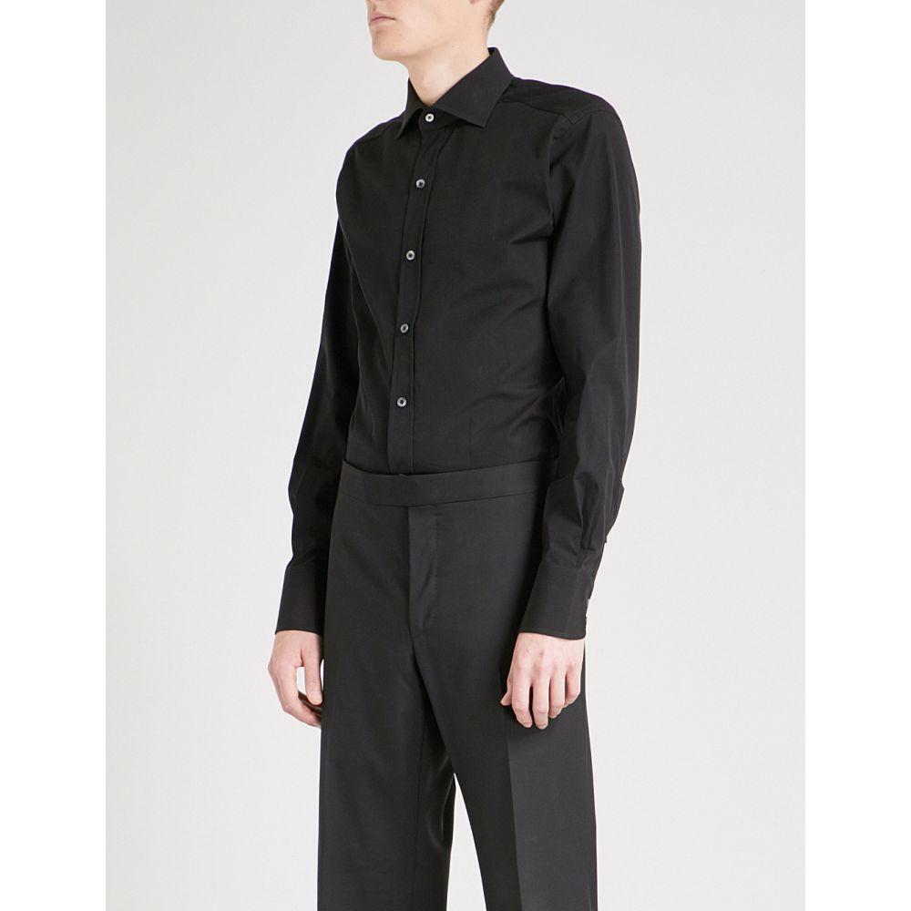 トム フォード TOM FORD メンズ シャツ トップス【Slim-fit cotton-poplin shirt】BLACK