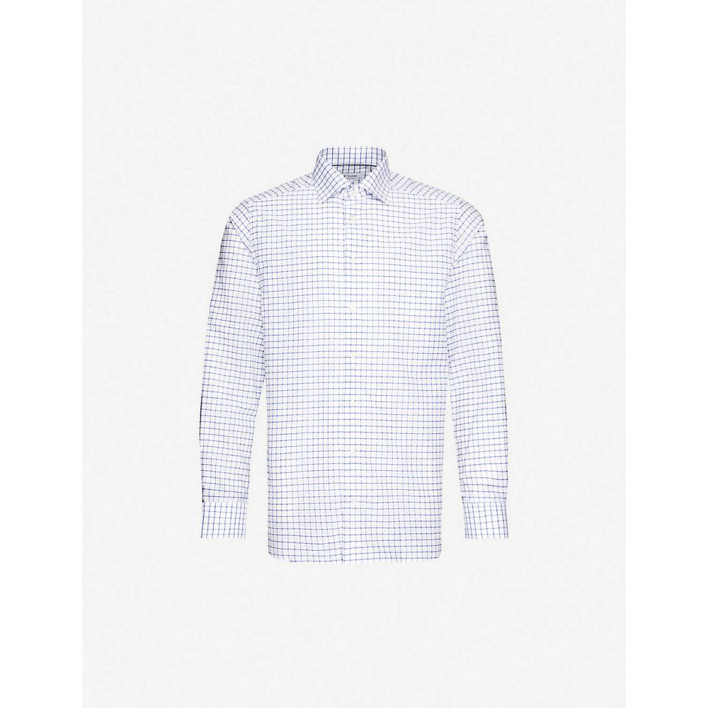イートン ETON メンズ シャツ トップス【Checked contemporary-fit cotton and linen-blend shirt】Blue
