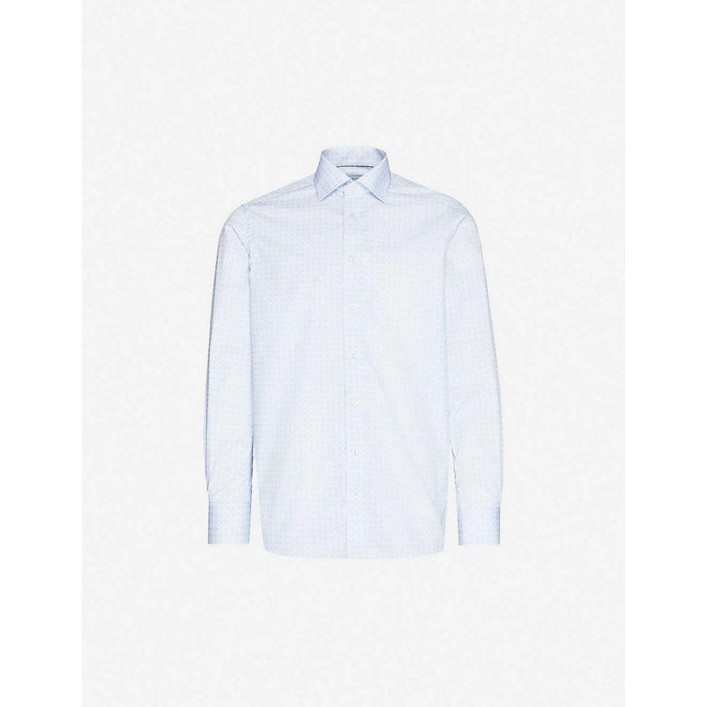 イートン ETON メンズ シャツ トップス【Graphic-pattern contemporary-fit cotton-poplin shirt】Blue