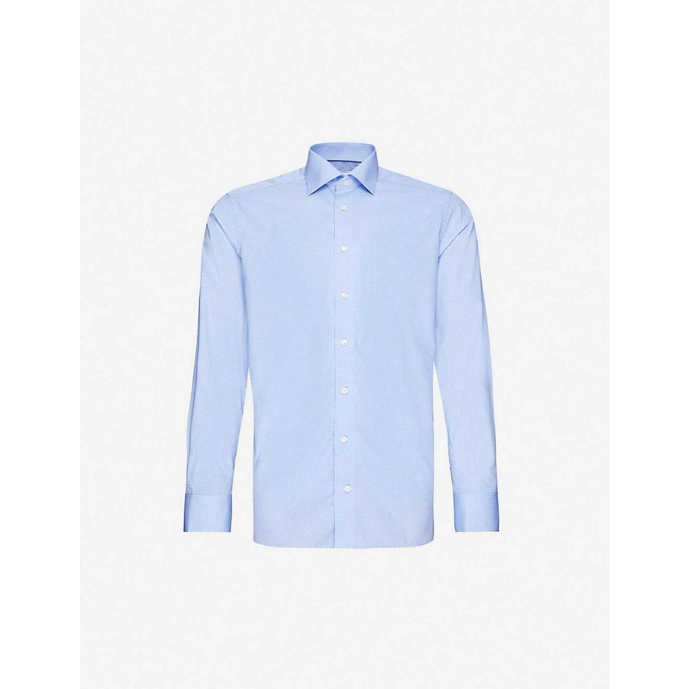 イートン ETON メンズ シャツ トップス【Geometric-print contemporary-fit cotton-poplin shirt】Blue