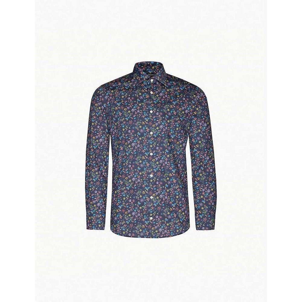 イートン ETON メンズ シャツ トップス【Floral-print slim-fit cotton-poplin shirt】Blue