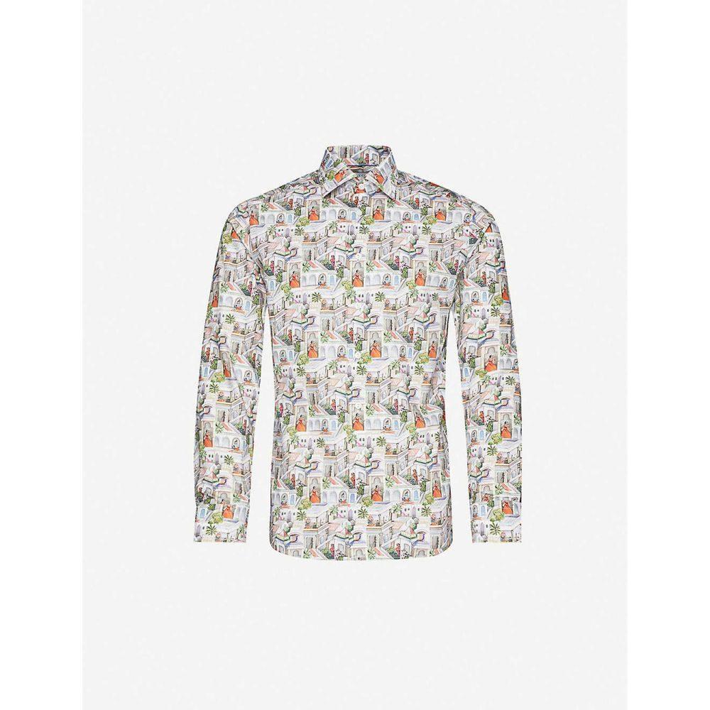 イートン ETON メンズ シャツ トップス【Graphic-print slim-fit cotton shirt】Pink/Red