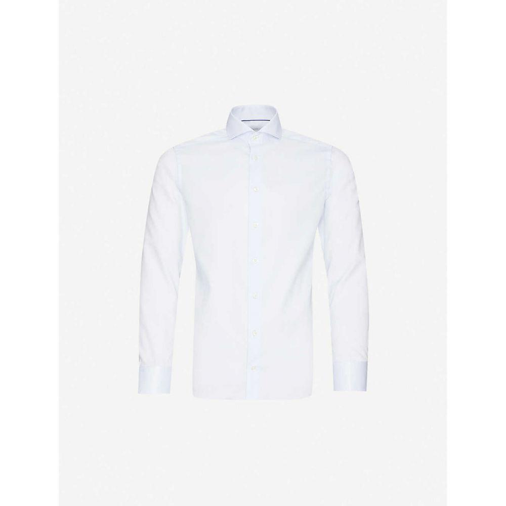 イートン ETON メンズ シャツ トップス【Geometric-print slim-fit cotton shirt】Blue