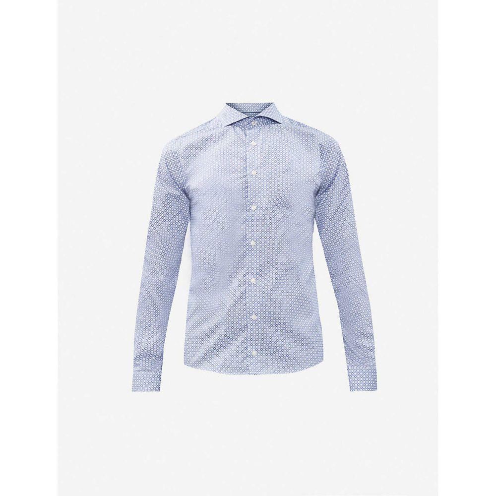 イートン ETON メンズ シャツ トップス【Micro paisley-print super-slim-fit cotton-poplin shirt】Blue