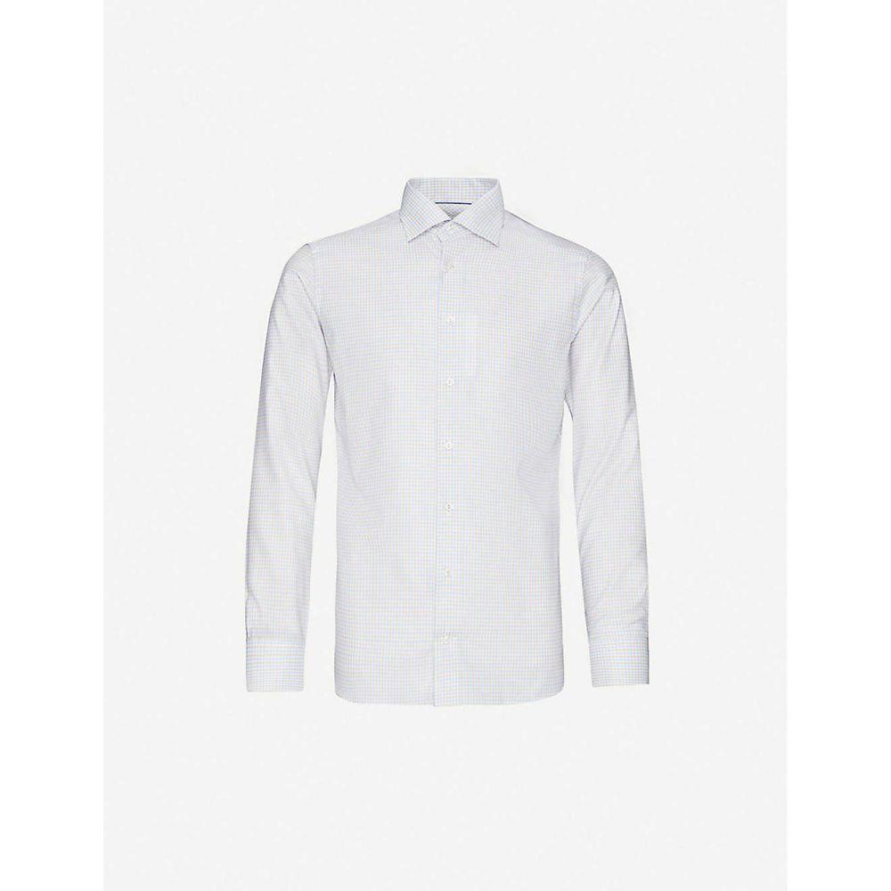 イートン ETON メンズ シャツ トップス【Checked slim-fit cotton and lyocell-blend shirt】Offwhite/Brown