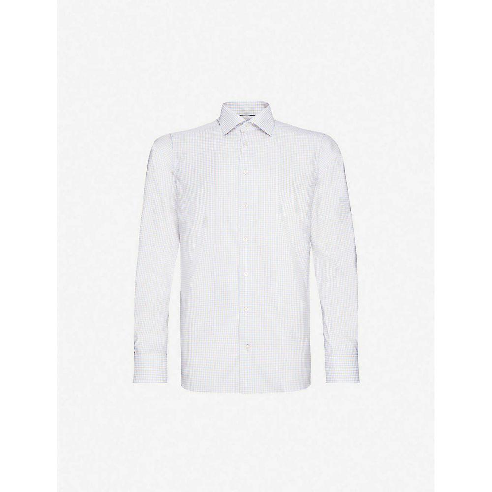 イートン ETON メンズ シャツ トップス【Checked contemporary-fit cotton-blend shirt】Offwhite/Brown