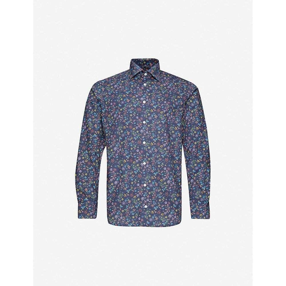 イートン ETON メンズ シャツ トップス【Floral-print contemporary-fit cotton-twillshirt】Blue