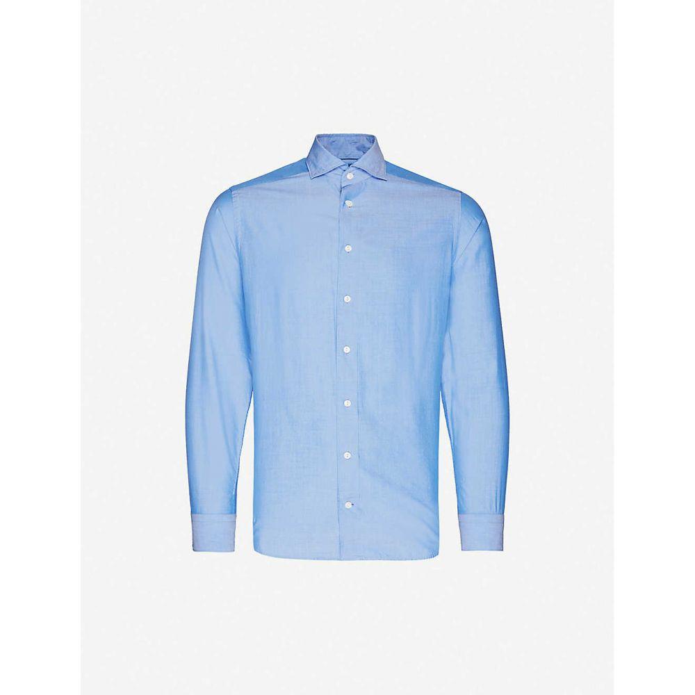 イートン ETON メンズ シャツ トップス【Regular-fit cotton-blend shirt】Blue