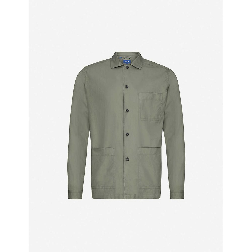 イートン ETON メンズ シャツ トップス【Regular-fit cotton-twill shirt】Green