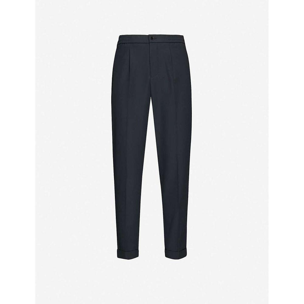 リース REISS メンズ スキニー・スリム ボトムス・パンツ【Drawstring slim-fit stretch-woven trousers】NAVY