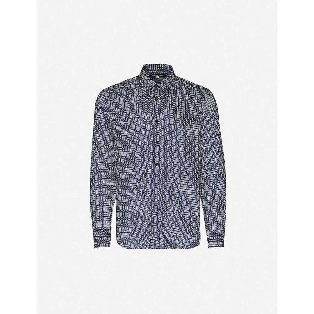 リース REISS メンズ シャツ トップス【Atlanta geometric-print woven shirt】NAVY