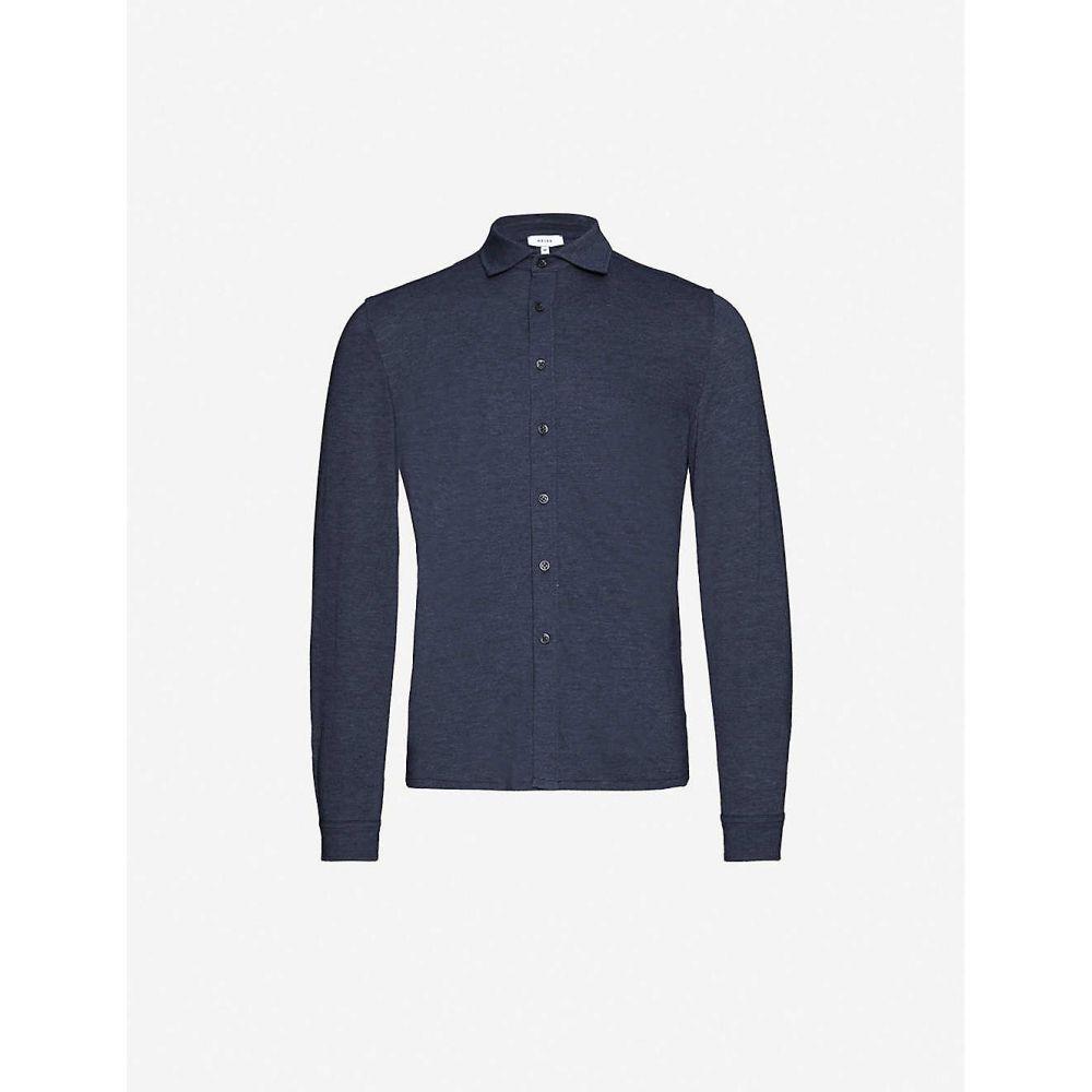 リース REISS メンズ シャツ トップス【Jesmond regular-fit cotton-blend jersey shirt】INDIGO