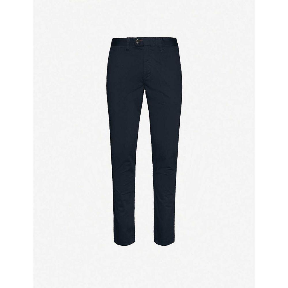 テッドベーカー TED BAKER メンズ スキニー・スリム ボトムス・パンツ【Slim-fit stretch-cotton trousers】NAVY