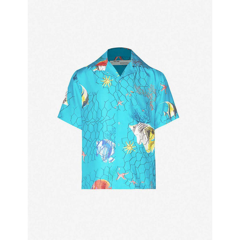 オフホワイト OFF-WHITE C/O VIRGIL ABLOH メンズ シャツ トップス【Graphic-print cotton-blend shirt】Light Blue