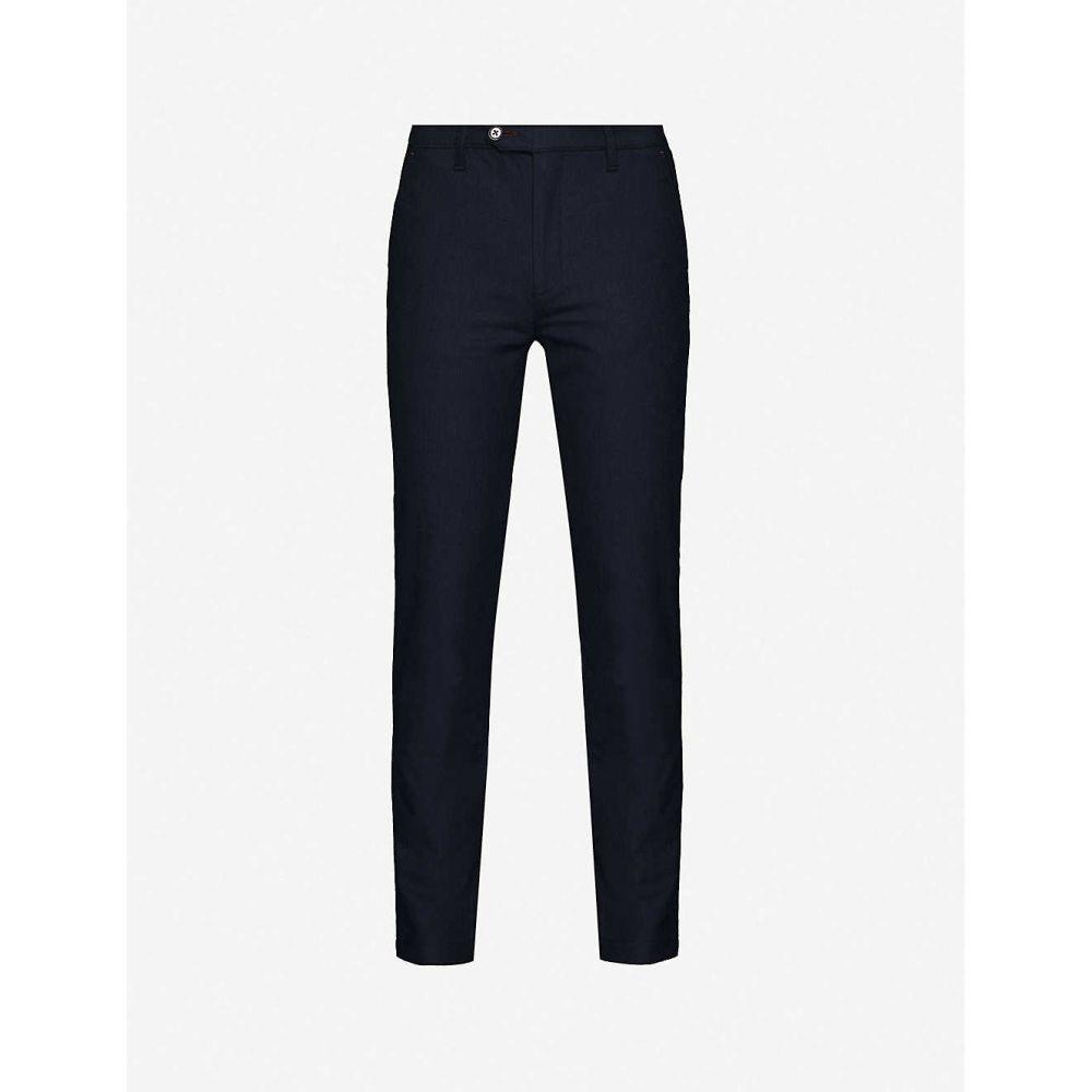 テッドベーカー TED BAKER メンズ スキニー・スリム ボトムス・パンツ【Slim-fit herringbone trousers】NAVY