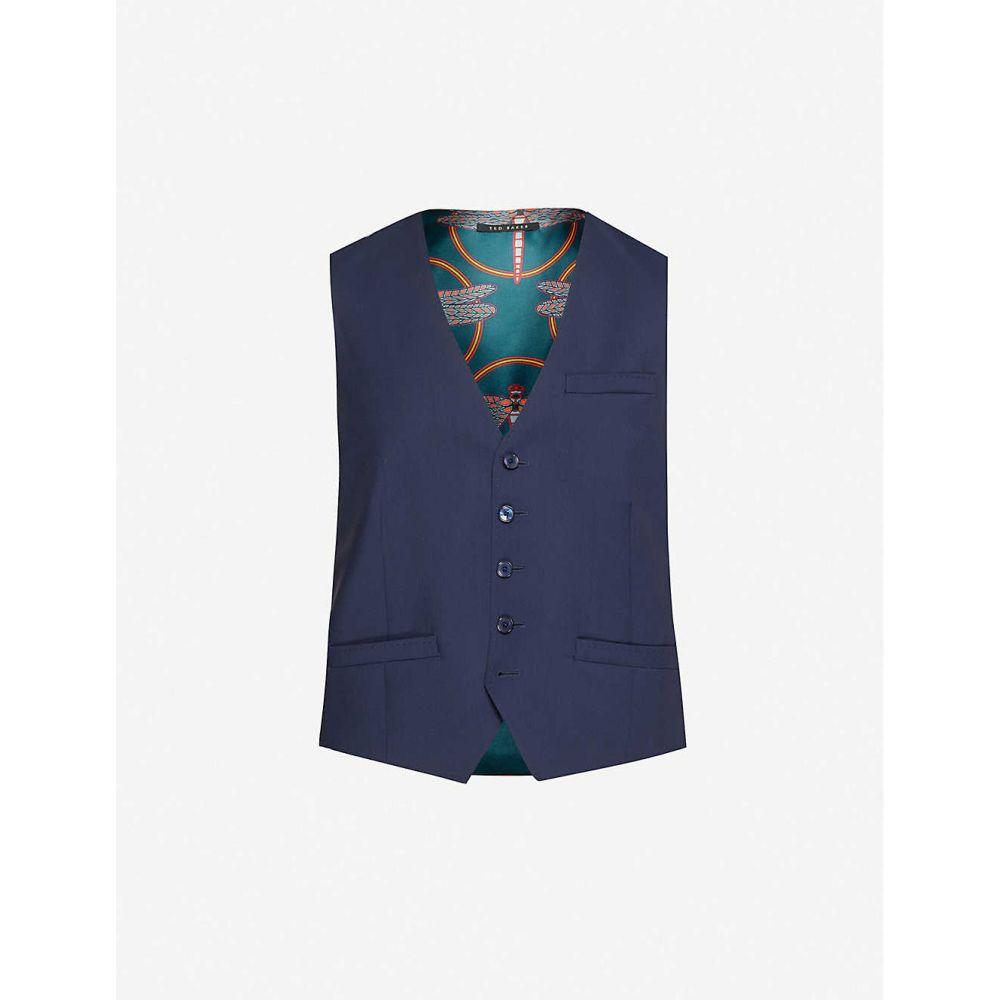テッドベーカー TED BAKER メンズ ベスト・ジレ トップス【Debonair dragonfly-print modern-fit wool waistcoat】NAVY