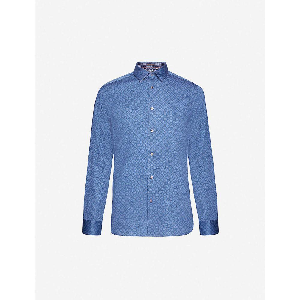 テッドベーカー TED BAKER メンズ シャツ トップス【Geometric-pattern regular-fit cotton shirt】BLUE