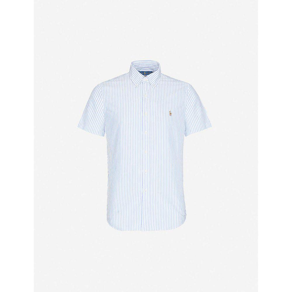 ラルフ ローレン POLO RALPH LAUREN メンズ 半袖シャツ トップス【Logo-embroidered striped cotton shirt】BLUE WHITE STRIPE