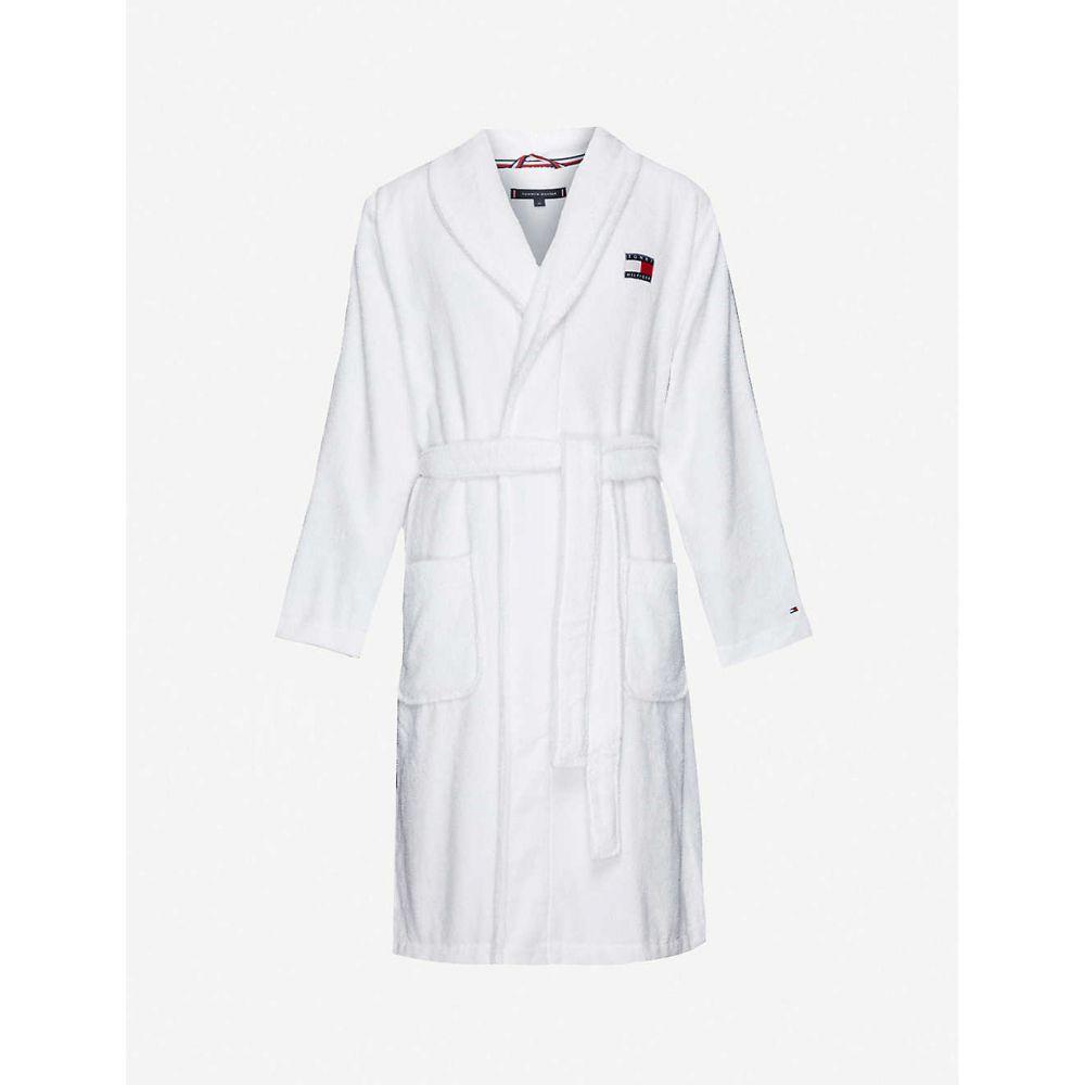 トミー ヒルフィガー TOMMY HILFIGER メンズ ガウン・バスローブ インナー・下着【Logo-embroidered cotton-towelling robe】Pvh Classic White