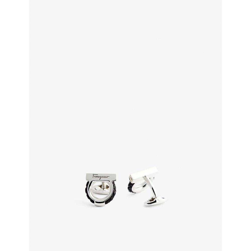 サルヴァトーレ フェラガモ SALVATORE FERRAGAMO メンズ カフス・カフリンクス 【Leather-trimmed gancini logo cufflinks】BLACK