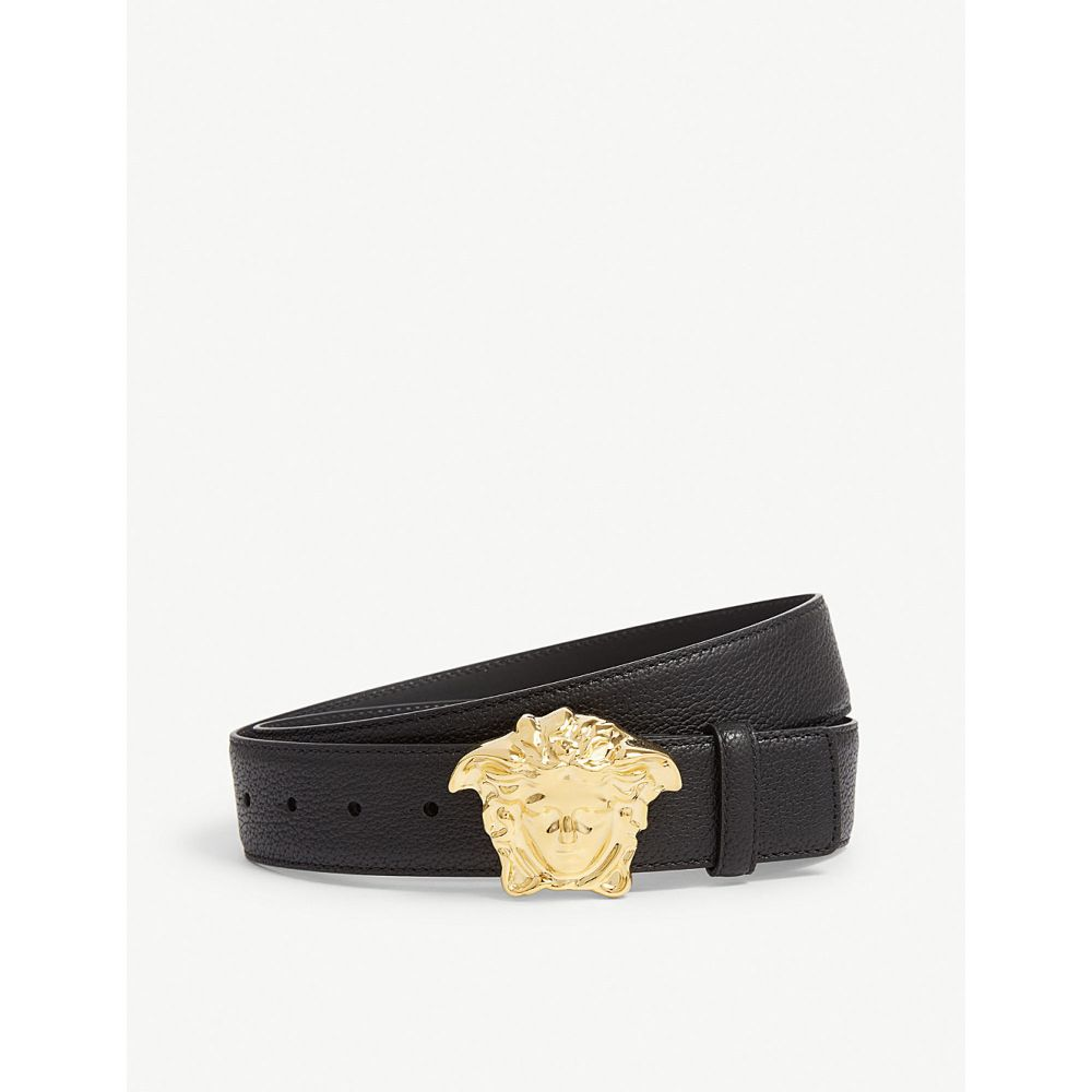 ヴェルサーチ VERSACE メンズ ベルト メデューサ【Palazzo Medusa leather belt】GOLD BLACK