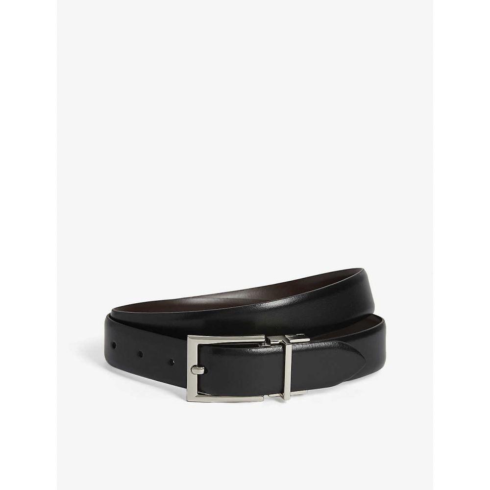 リース REISS メンズ ベルト 【Ricky reversible leather belt】BLACK/DARK BROW