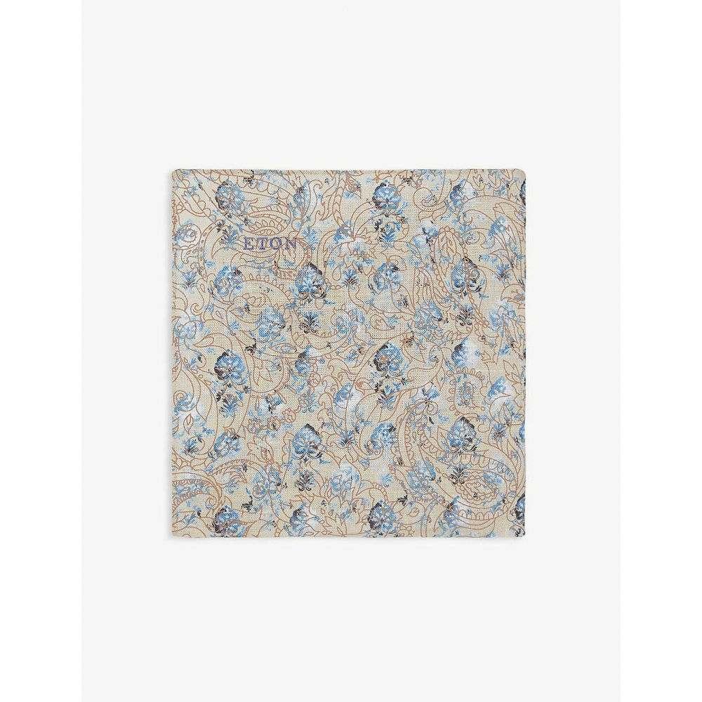 イートン ETON メンズ ハンカチ・チーフ 【Floral-print linen pocket square】Offwhite/Brown