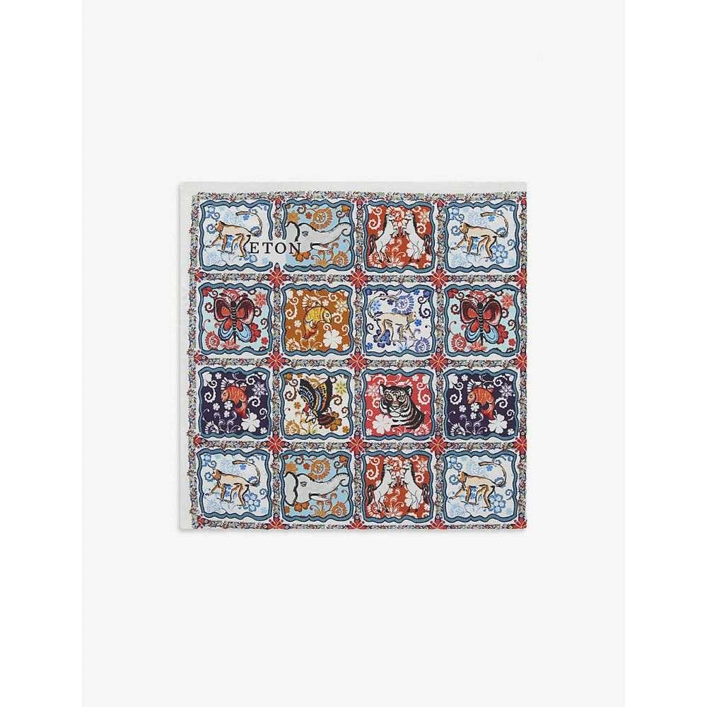 イートン ETON メンズ ハンカチ・チーフ 【Animal tile-print cotton pocket square】Pink/Red