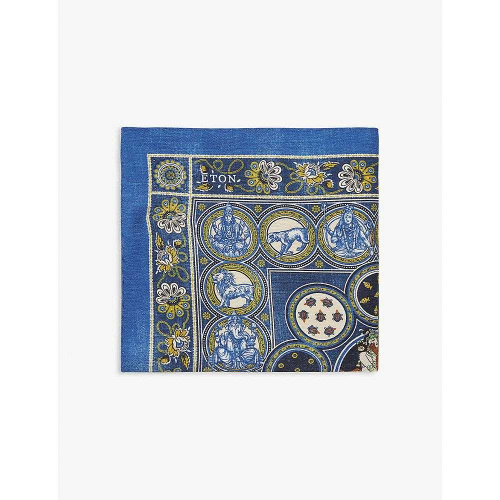 イートン ETON メンズ ハンカチ・チーフ 【Animal medallion print cotton-silk pocket square】Blue