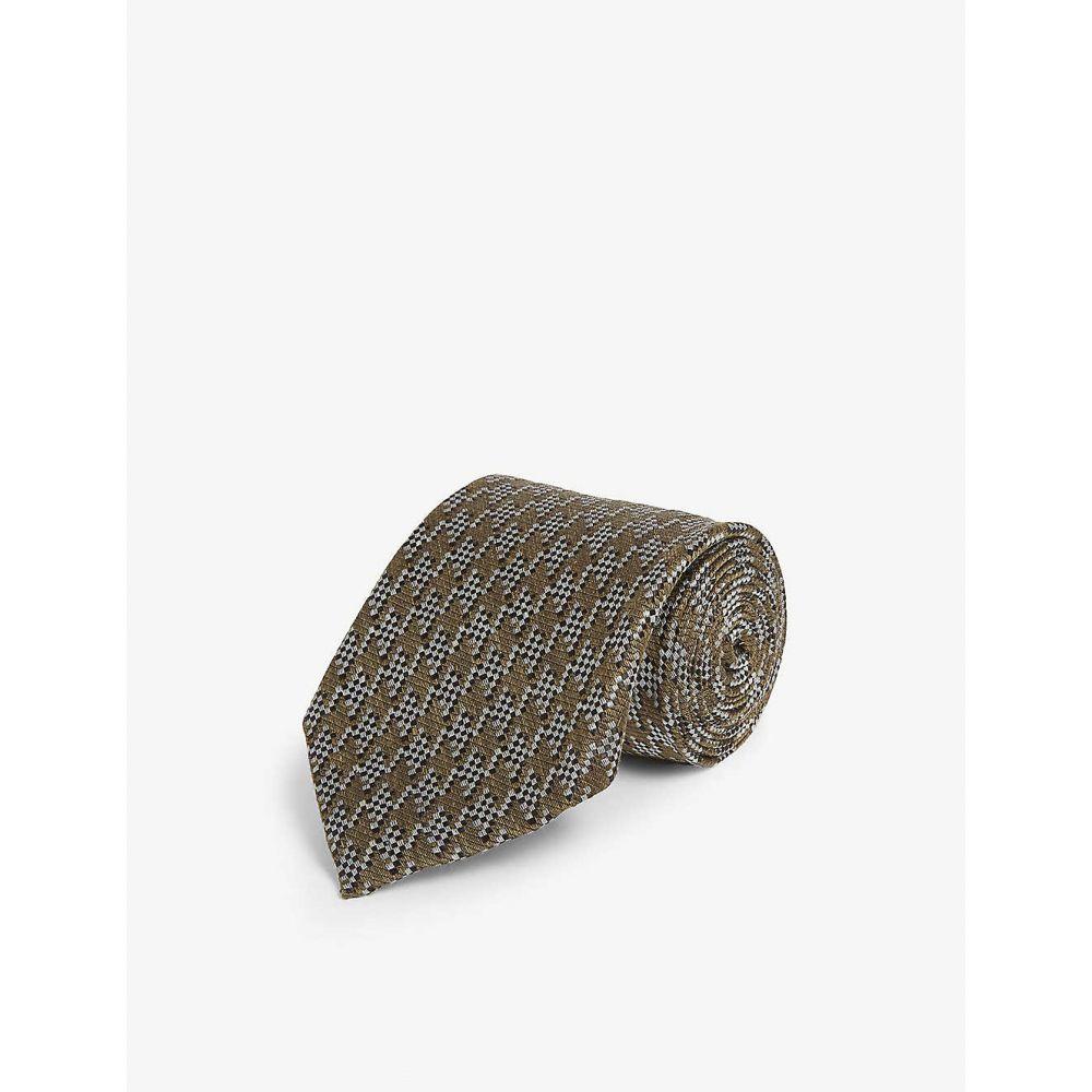 トム フォード TOM FORD メンズ ネクタイ 【Houndstooth print silk-blend tie】GREEN