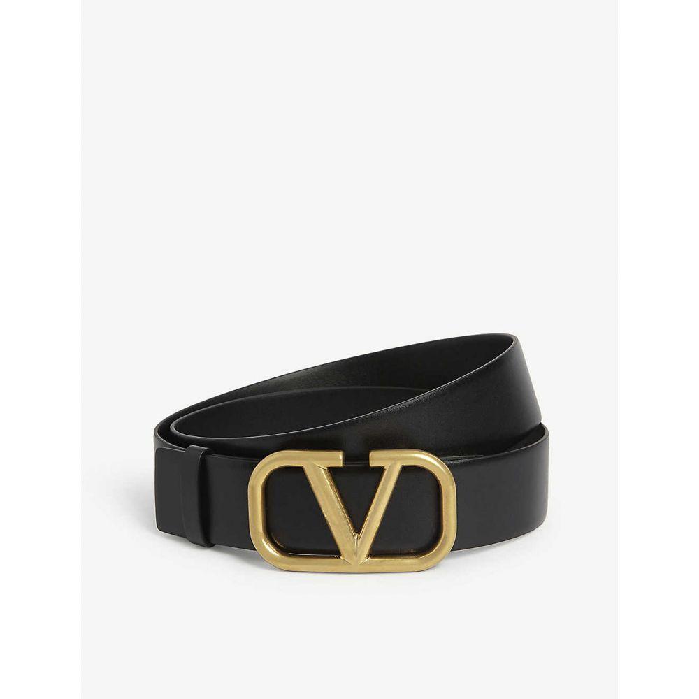 ヴァレンティノ VALENTINO メンズ ベルト 【V logo leather belt】BLACK GOLD