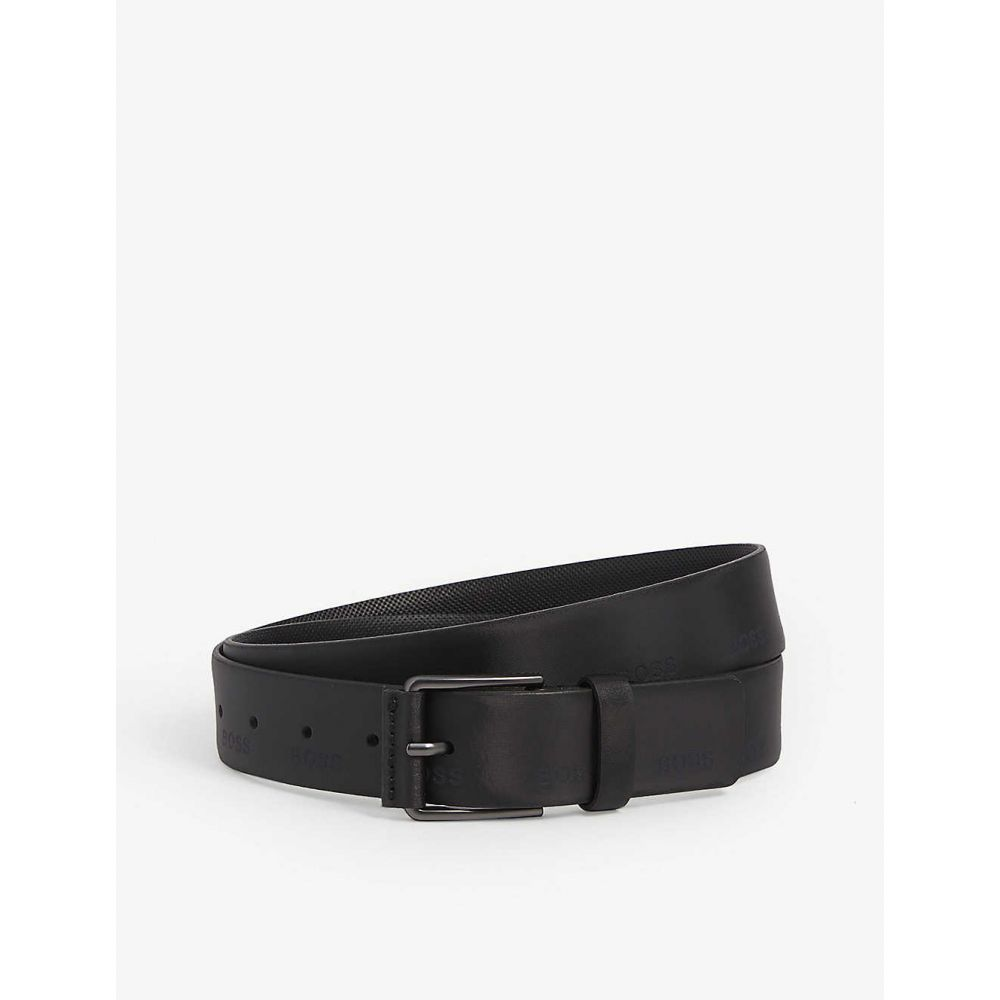 ヒューゴ ボス BOSS メンズ ベルト 【Logo-embossed leather belt】BLACK