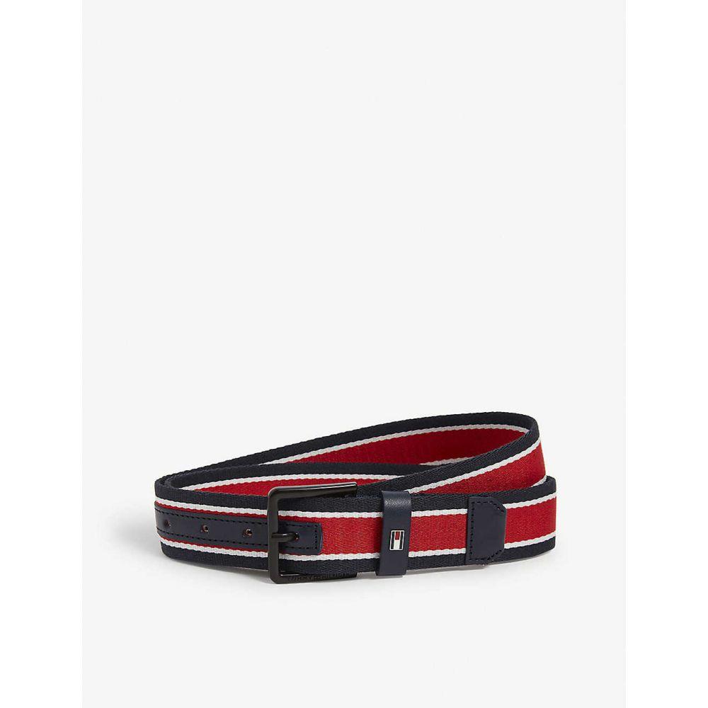 トミー ヒルフィガー TOMMY HILFIGER メンズ ベルト 【The Urban webbing stripe belt】Red