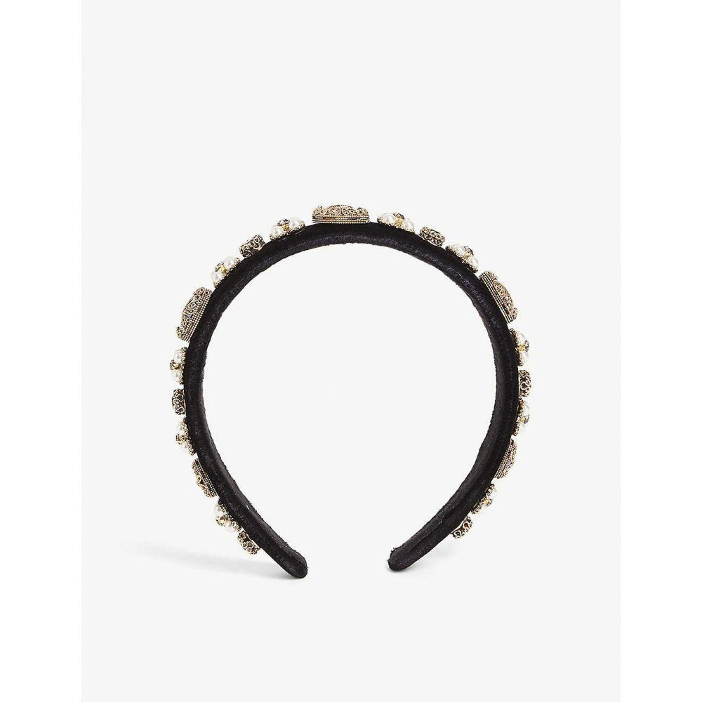 パークサイド ロンドン PARKSIDE LONDON レディース ヘアアクセサリー ヘッドバンド【Crystal and pearl cluster velvet headband】Rose/black