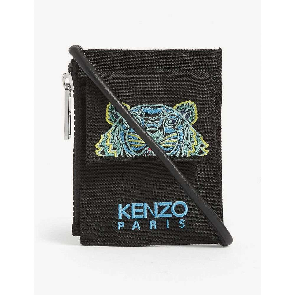 ケンゾー KENZO レディース カードケース・名刺入れ カードホルダー【Tiger motif mini crossbody card holder】BLACK