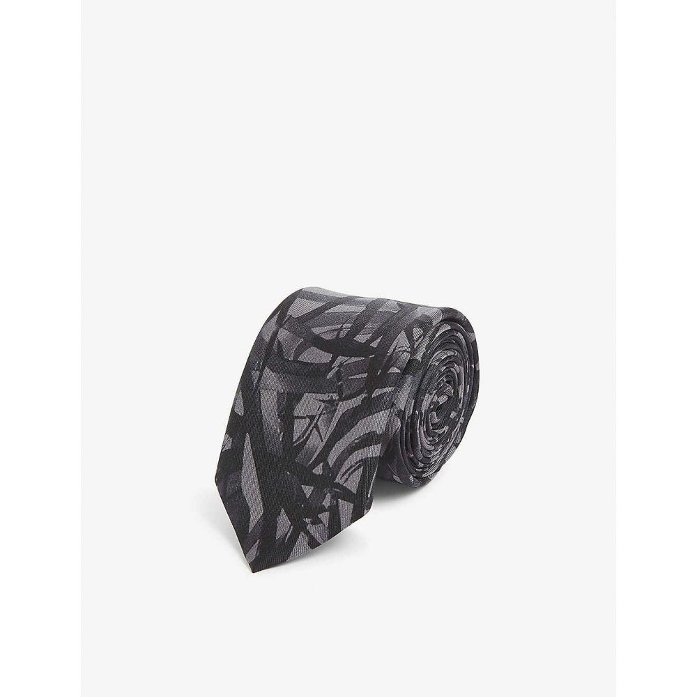 ヒューゴ ボス HUGO メンズ ネクタイ 【Cassette tape print silk tie】Black