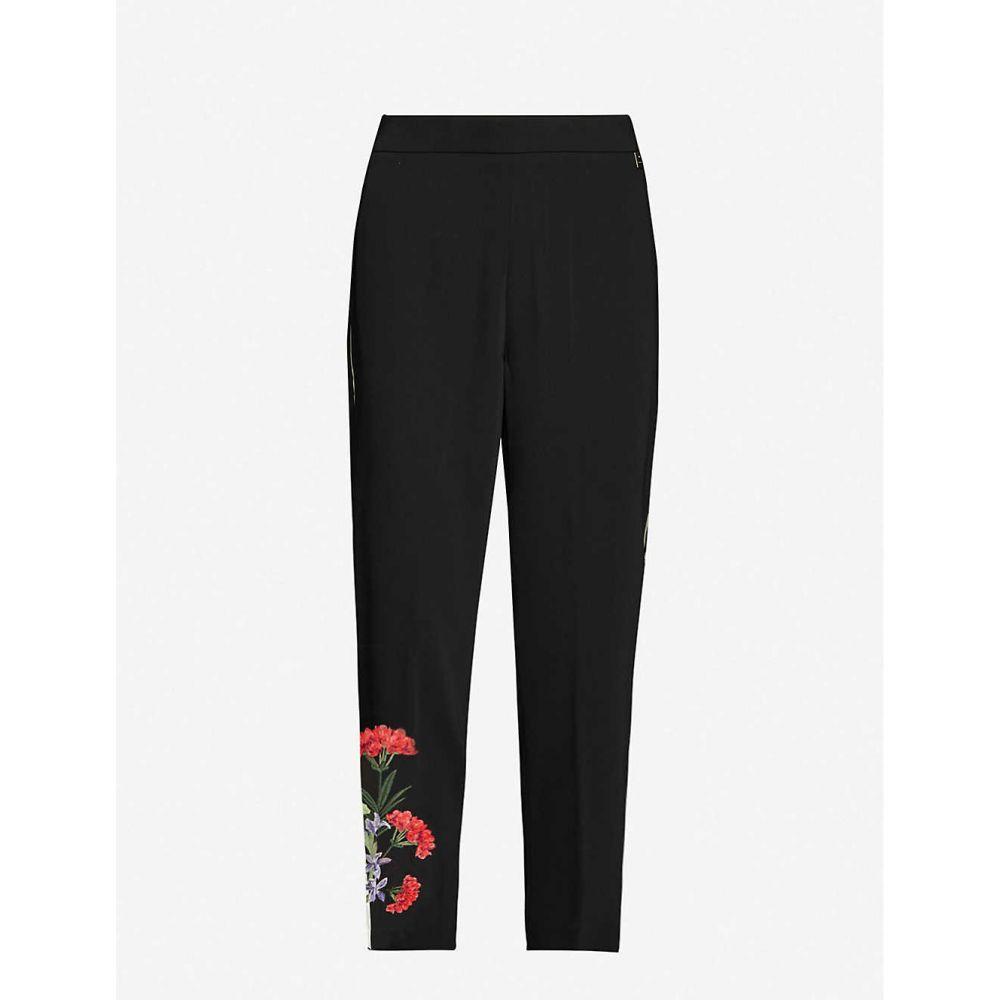 テッドベーカー TED BAKER レディース スウェット・ジャージ ボトムス・パンツ【Highland floral-print stretch-jersey jogging bottoms】BLACK