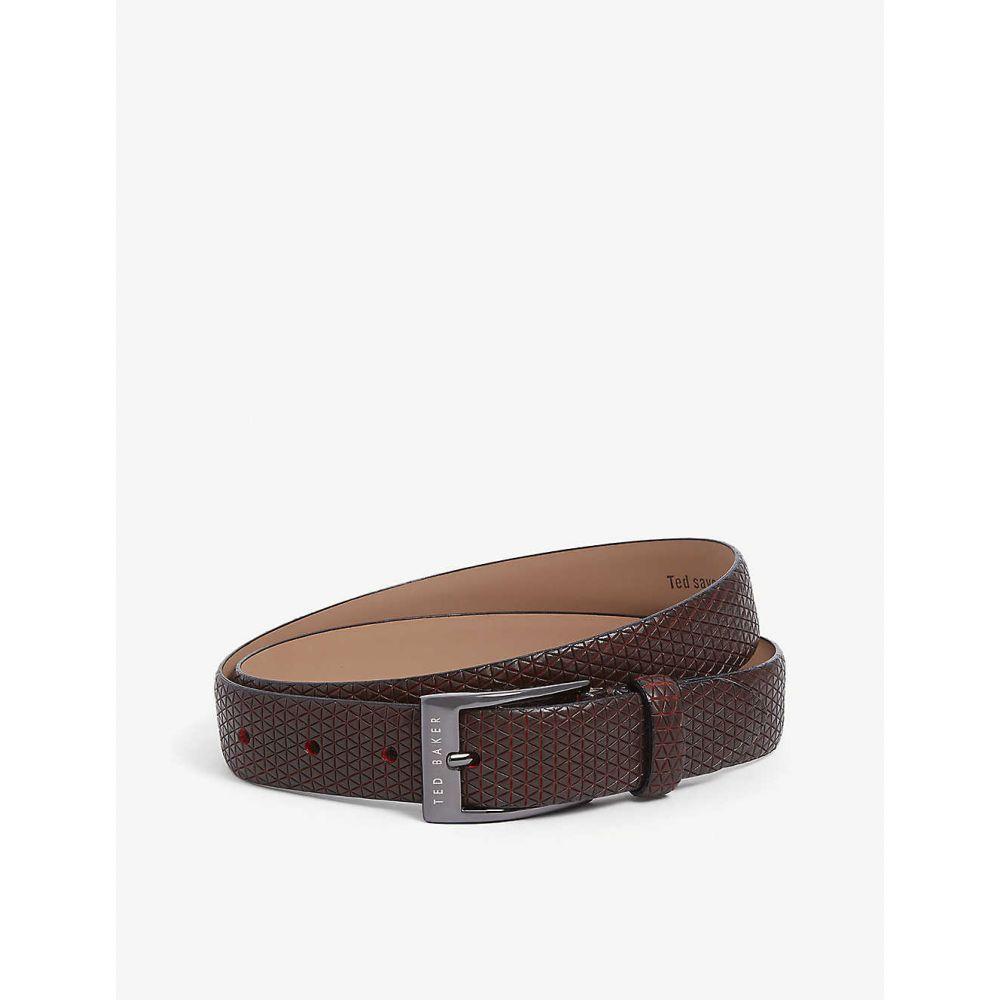 テッドベーカー TED BAKER メンズ ベルト 【Manila geometric embossed leather belt】DK/RED
