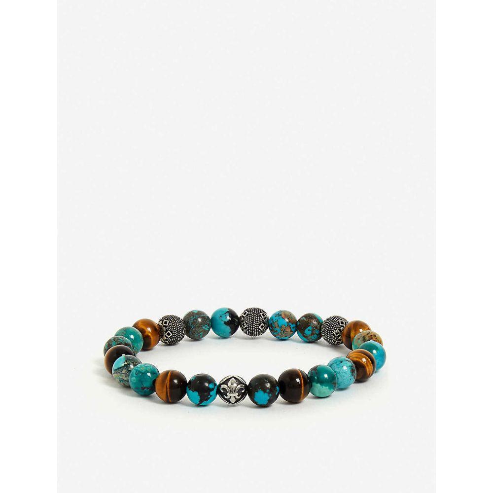 ナイアヤラ NIALAYA メンズ ブレスレット ジュエリー・アクセサリー【Bali Turquoise, Tiger Eye and Indian Silver bead bracelet】MULTI BLUE