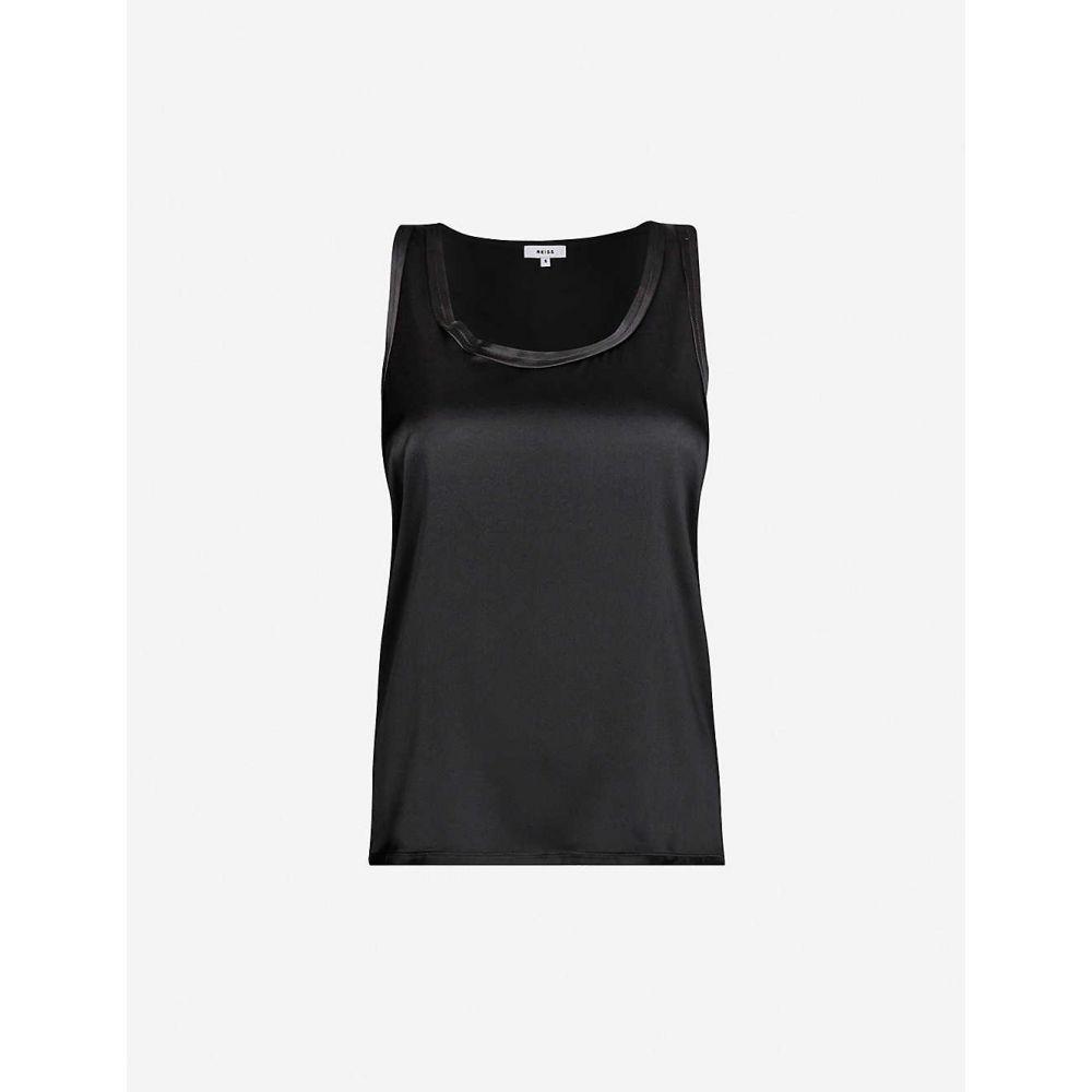 リース REISS レディース タンクトップ トップス【Remey silk-satin and jersey vest】Black