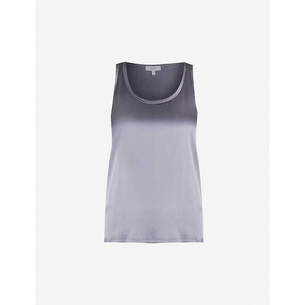 リース REISS レディース タンクトップ トップス【Remey silk-satin and jersey vest top】GREY/BLUE
