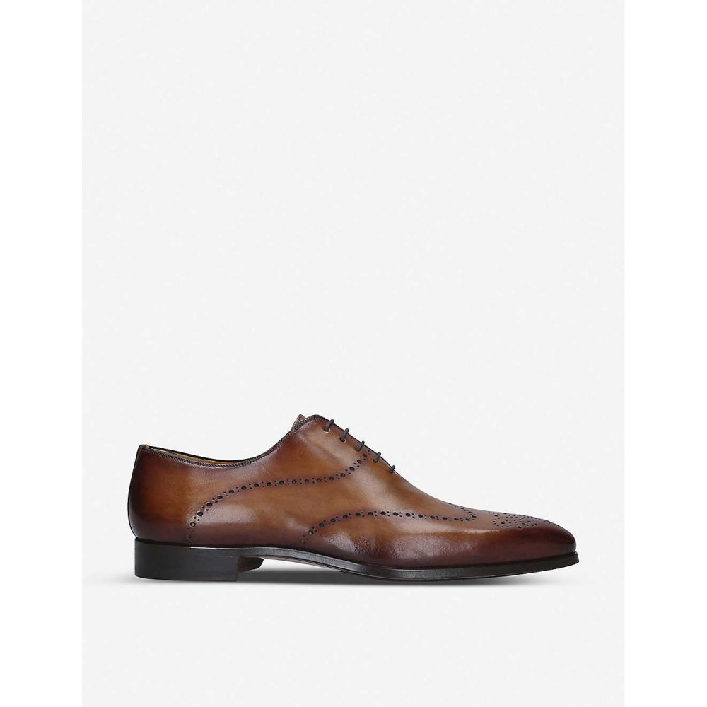 マグナーニ MAGNANNI メンズ 革靴・ビジネスシューズ ウイングチップ シューズ・靴【Wingtip burnished leather oxford shoes】TAN