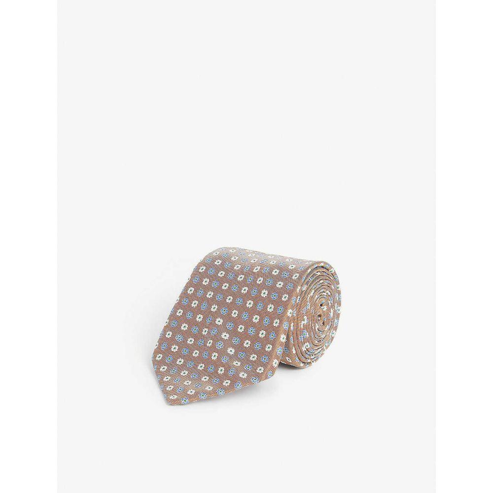 ビギ クラバッテ BIGI CRAVATTE メンズ ネクタイ 【Floral pattern silk tie】BROWN