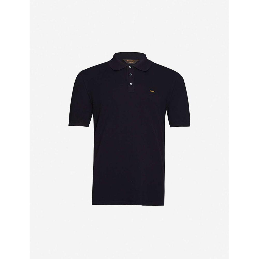 クチュール ゼニア COUTURE ZEGNA メンズ ポロシャツ トップス【Logo-embroidered cotton-pique polo shirt】Navy
