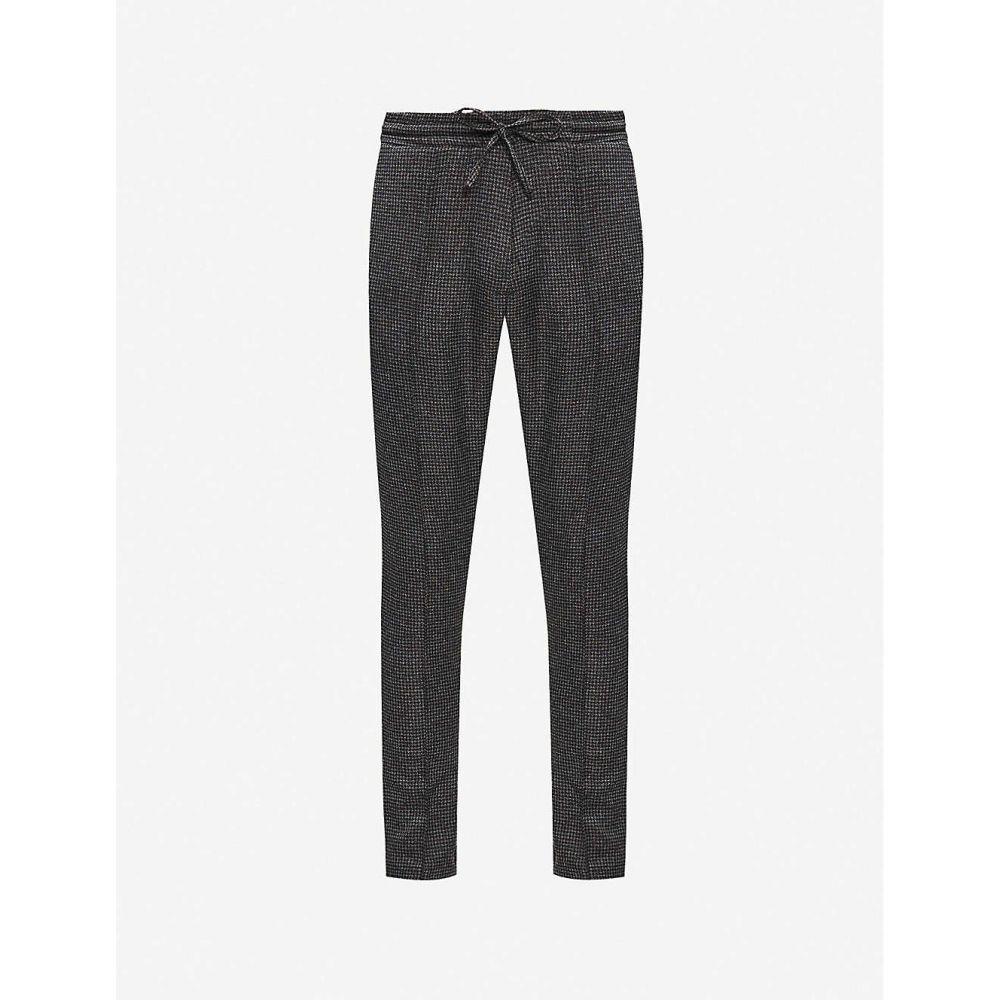 プレヴ PREVU メンズ ボトムス・パンツ 【Nave check-print slim-fit woven trousers】CHARCOAL