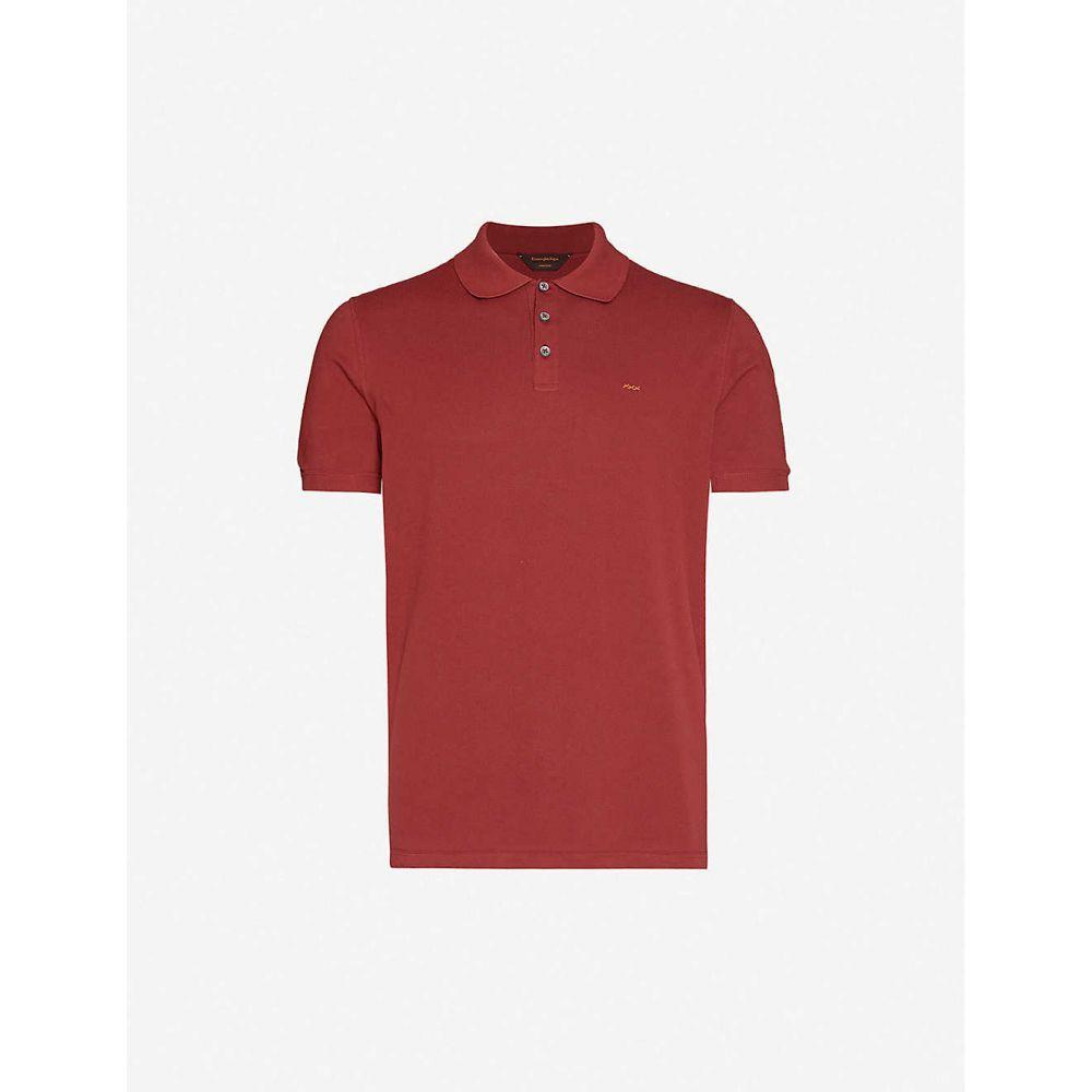 クチュール ゼニア COUTURE ZEGNA メンズ ポロシャツ トップス【Logo-embroidery relaxed-fit cotton-pique polo shirt】BURGUNDY