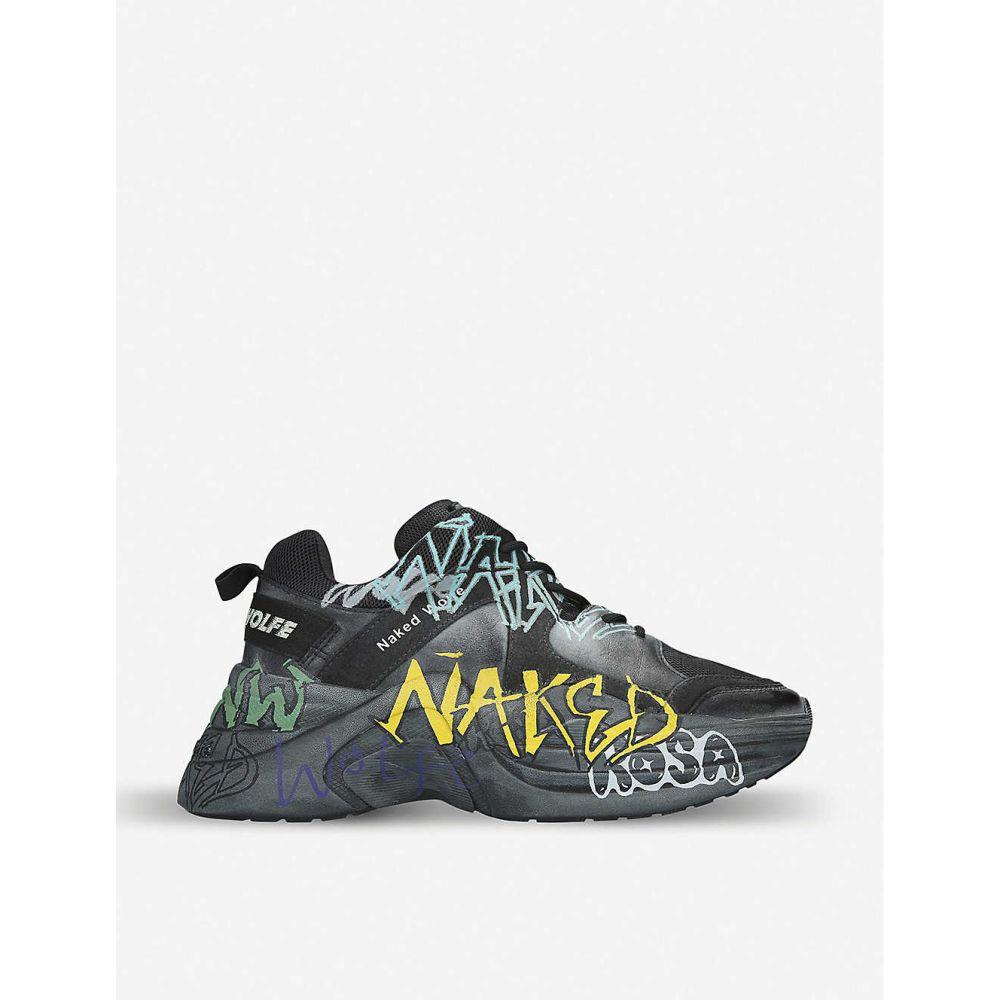 ネイキッドウルフ NAKED WOLFE メンズ スニーカー シューズ・靴【Titan Graffiti leather and mesh trainers】BLACK/COMB
