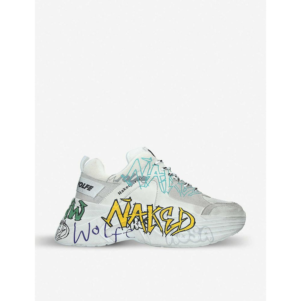 ネイキッドウルフ NAKED WOLFE メンズ スニーカー シューズ・靴【Titan graffiti-print leather and mesh trainers】WHITE/COMB