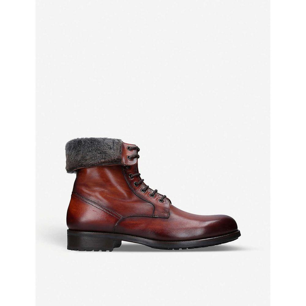 マグナーニ MAGNANNI メンズ ブーツ コンバットブーツ シューズ・靴【Rommel faux fur-trim leather combat boots】TAN